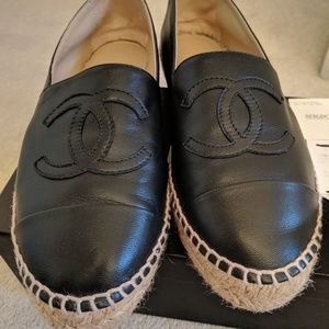 Chanel Black Leather Espadrilles size 37